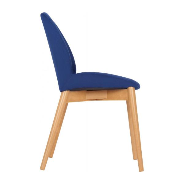 Chair with blue fabric cover and beech wood legs n°4