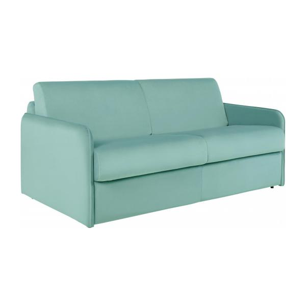 Green Velvet 3 Seat Fold Out Sofa N°1