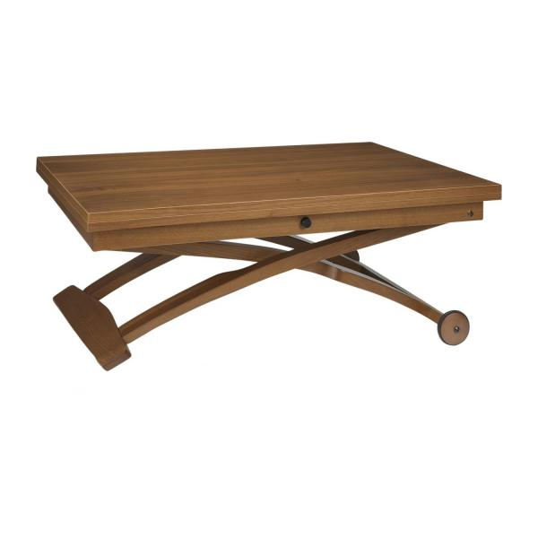 Allessio table basse en noyer relevable et extensible - Table basse relevable et extensible ...