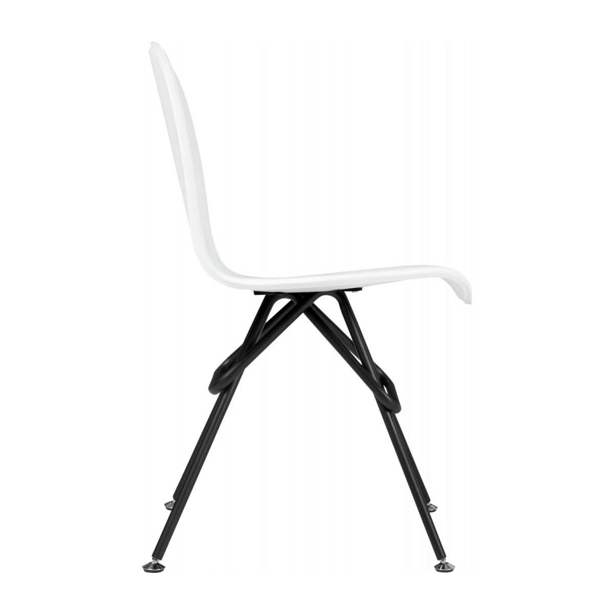 Chair with white faux leather cover and black steel legs n°4