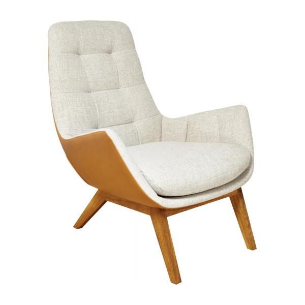 Armchair made of fabric, beige marl and brown leather oak legs n°1