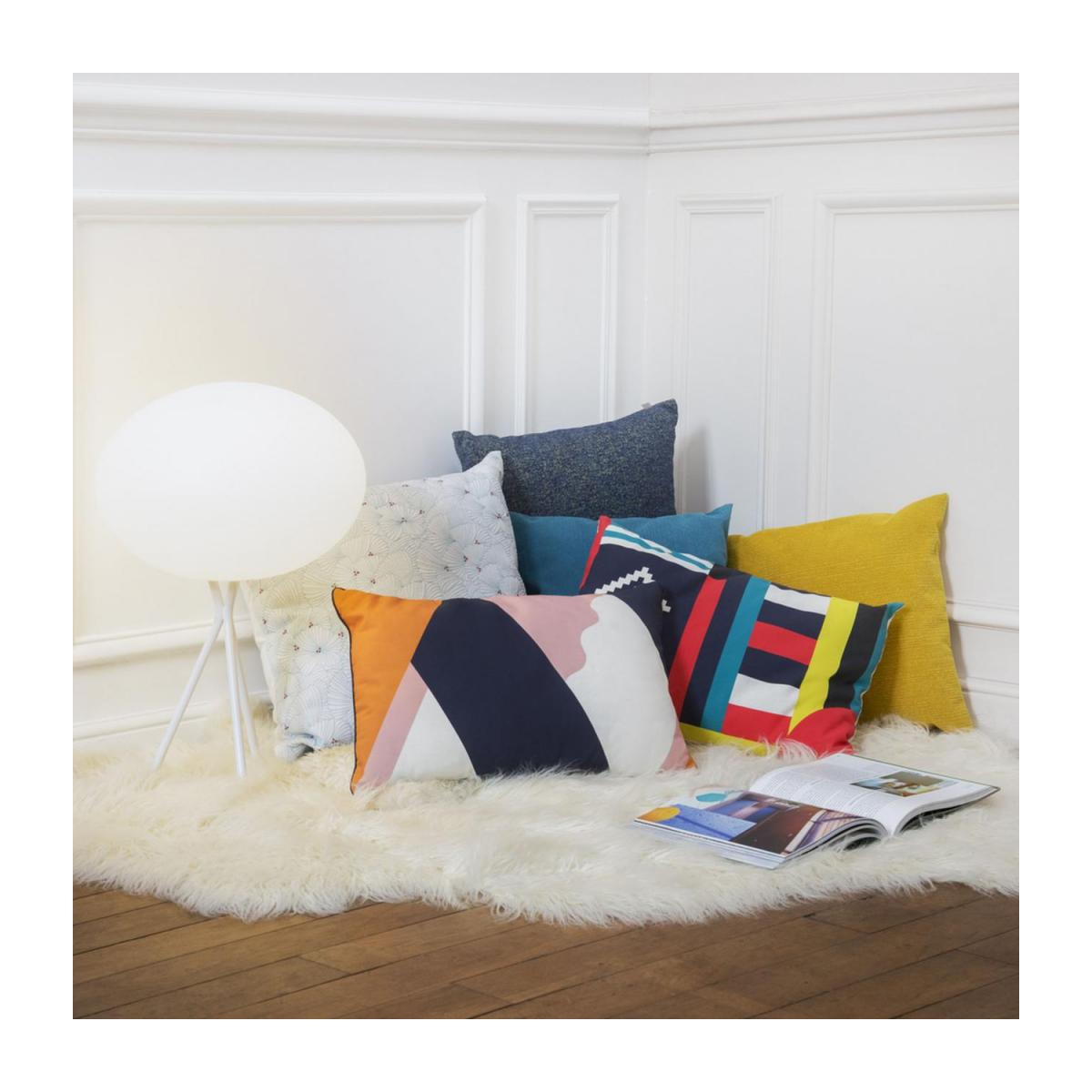 Cushion made of textured velvet 45x45cm, yellow n°1
