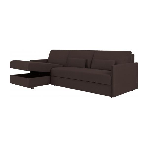 carl canap lit 3 places lattes avec m ridienne gauche en tissu marron. Black Bedroom Furniture Sets. Home Design Ideas