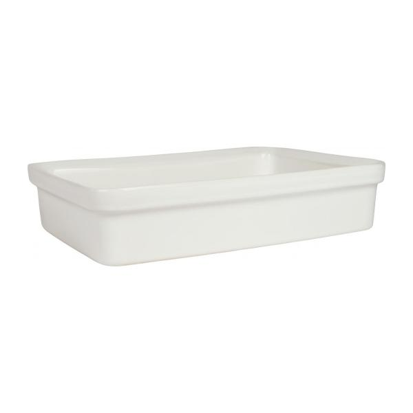 Oven dish made of faience 31x22cm, white n°1