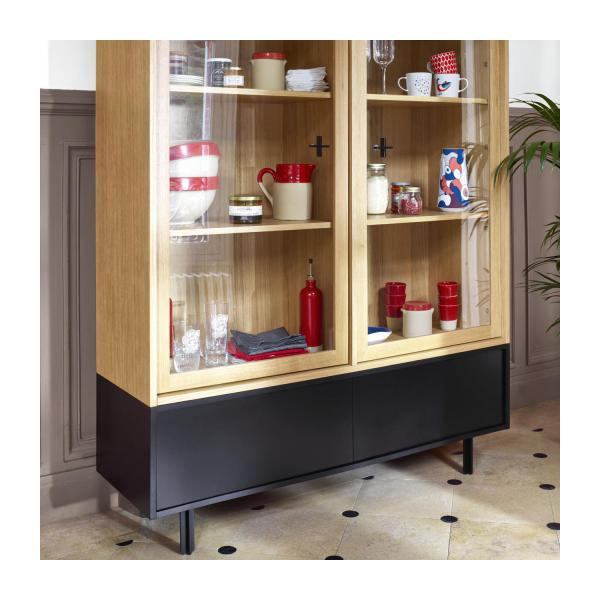 Storage furniture made of oak and glass n°8