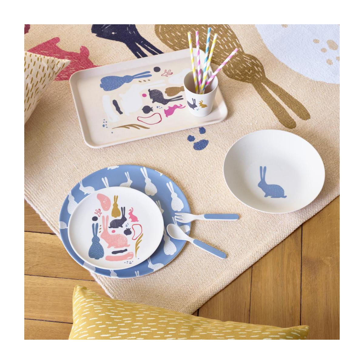 Flat plate, blue with bunny pattern n°5