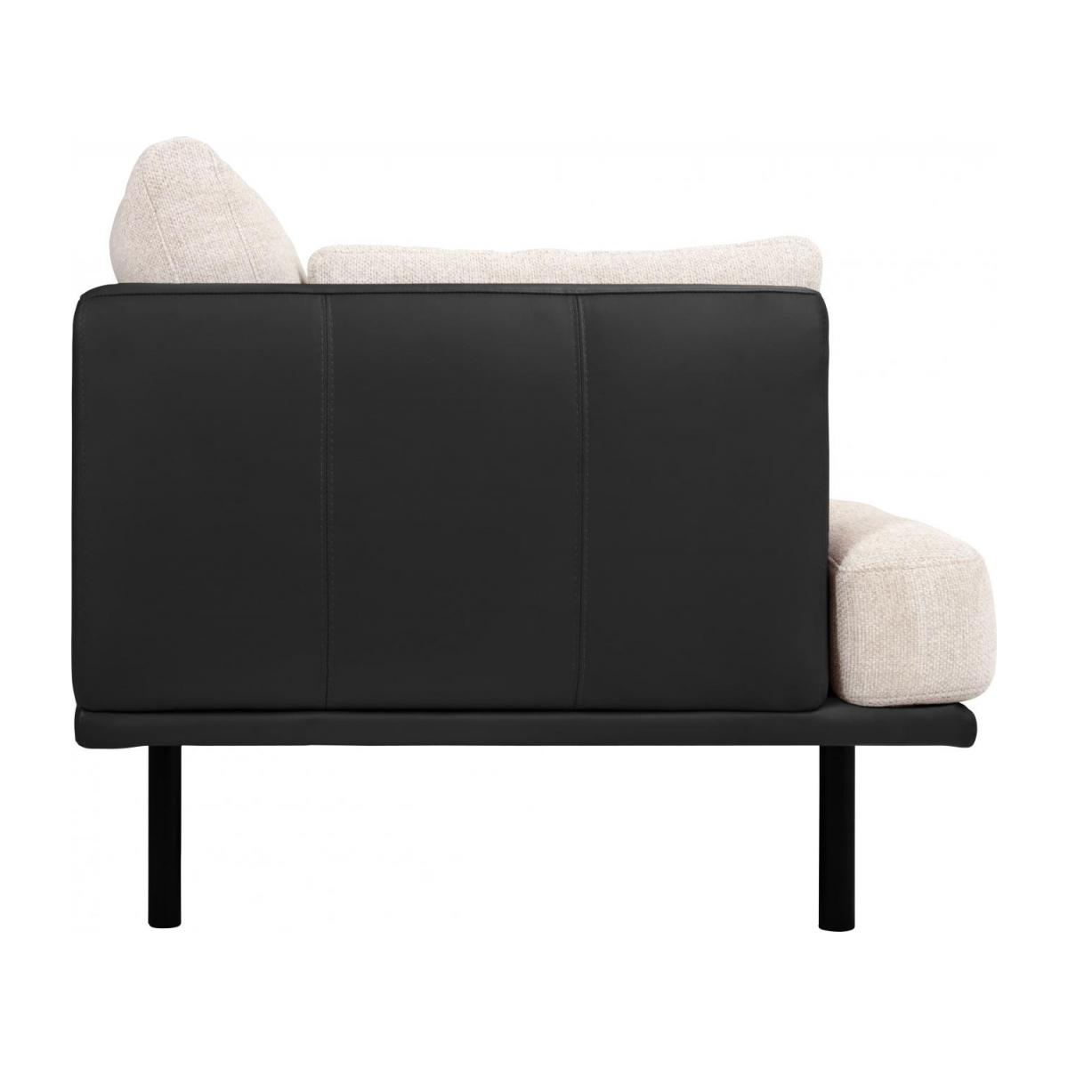 3 seater sofa in Fasoli fabric, snow white with base and armrests in black leather n°4