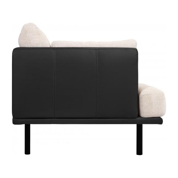 2 seater sofa in Fasoli fabric, snow white with base and armrests in black leather n°5