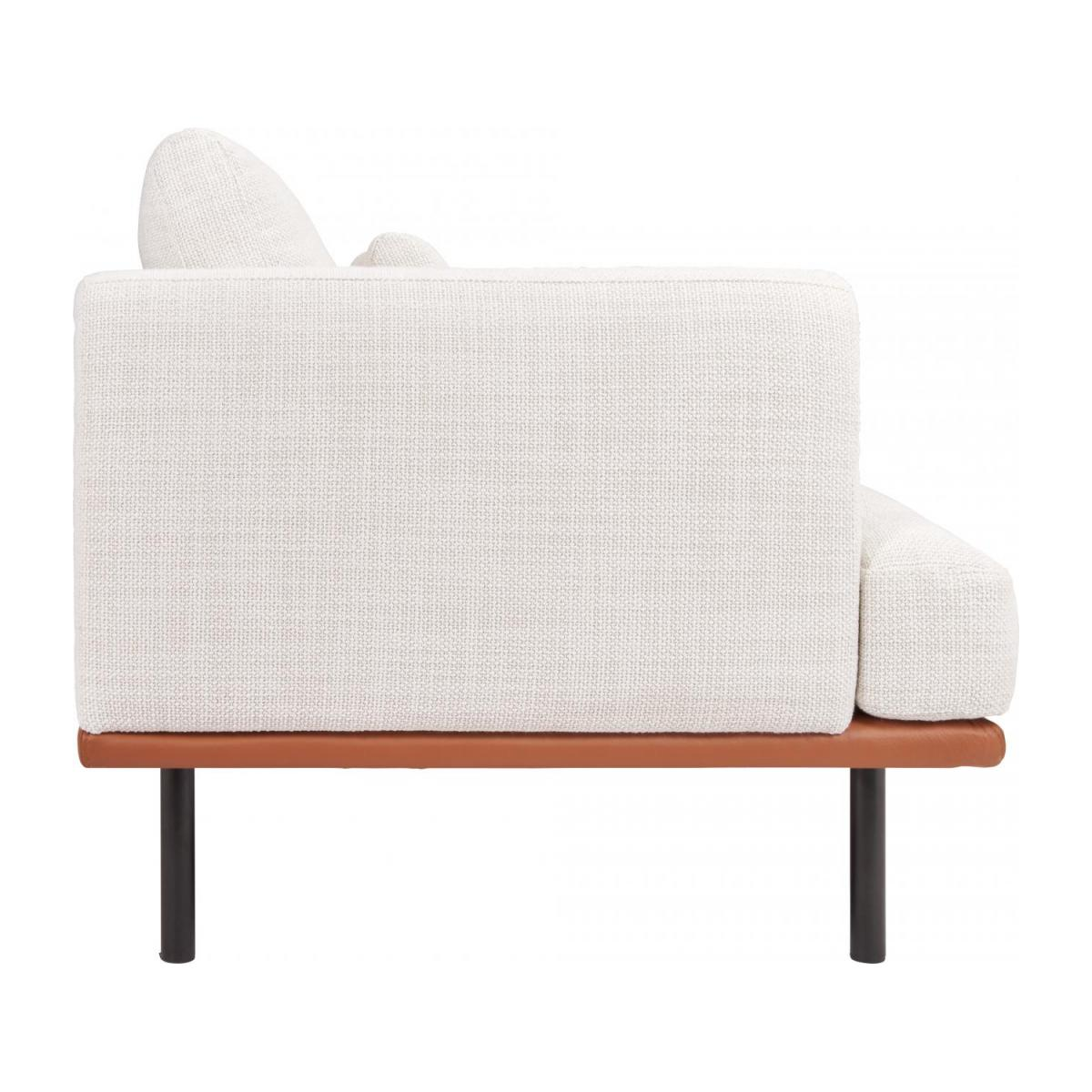 3 seater sofa in Fasoli fabric, snow white with base in brown leather n°5