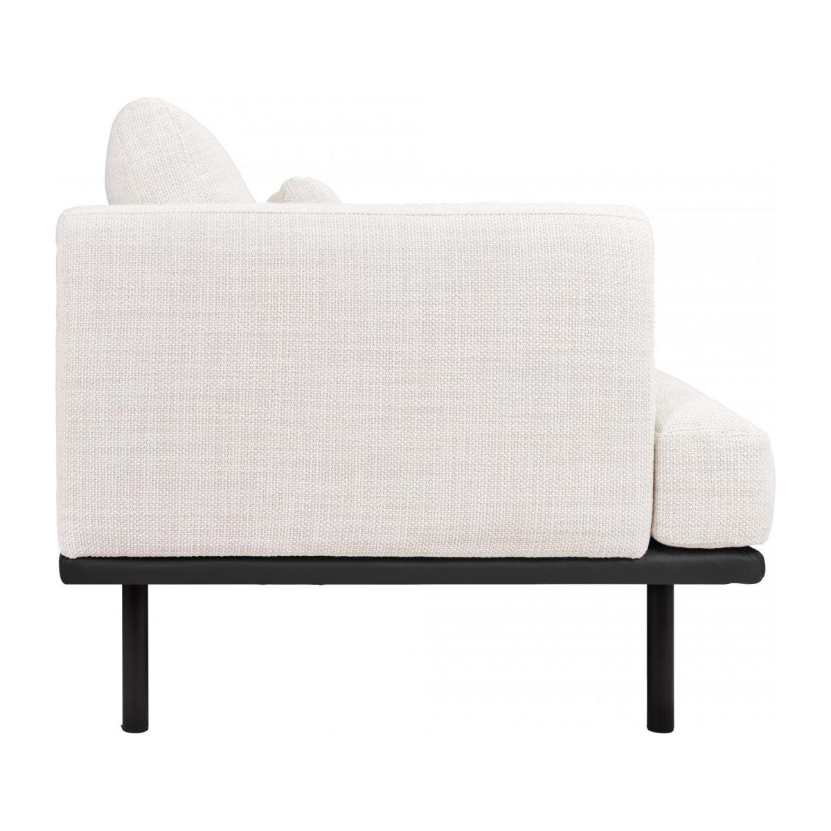 3 seater sofa in Fasoli fabric, snow white with base in black leather n°5