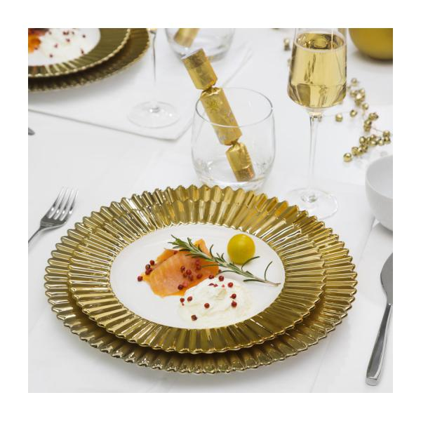 Flat plate in porcelain, gold 28cm n°5