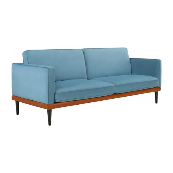 giorgio 3 sitzer sofa aus samt blau und basis aus leder habitat. Black Bedroom Furniture Sets. Home Design Ideas