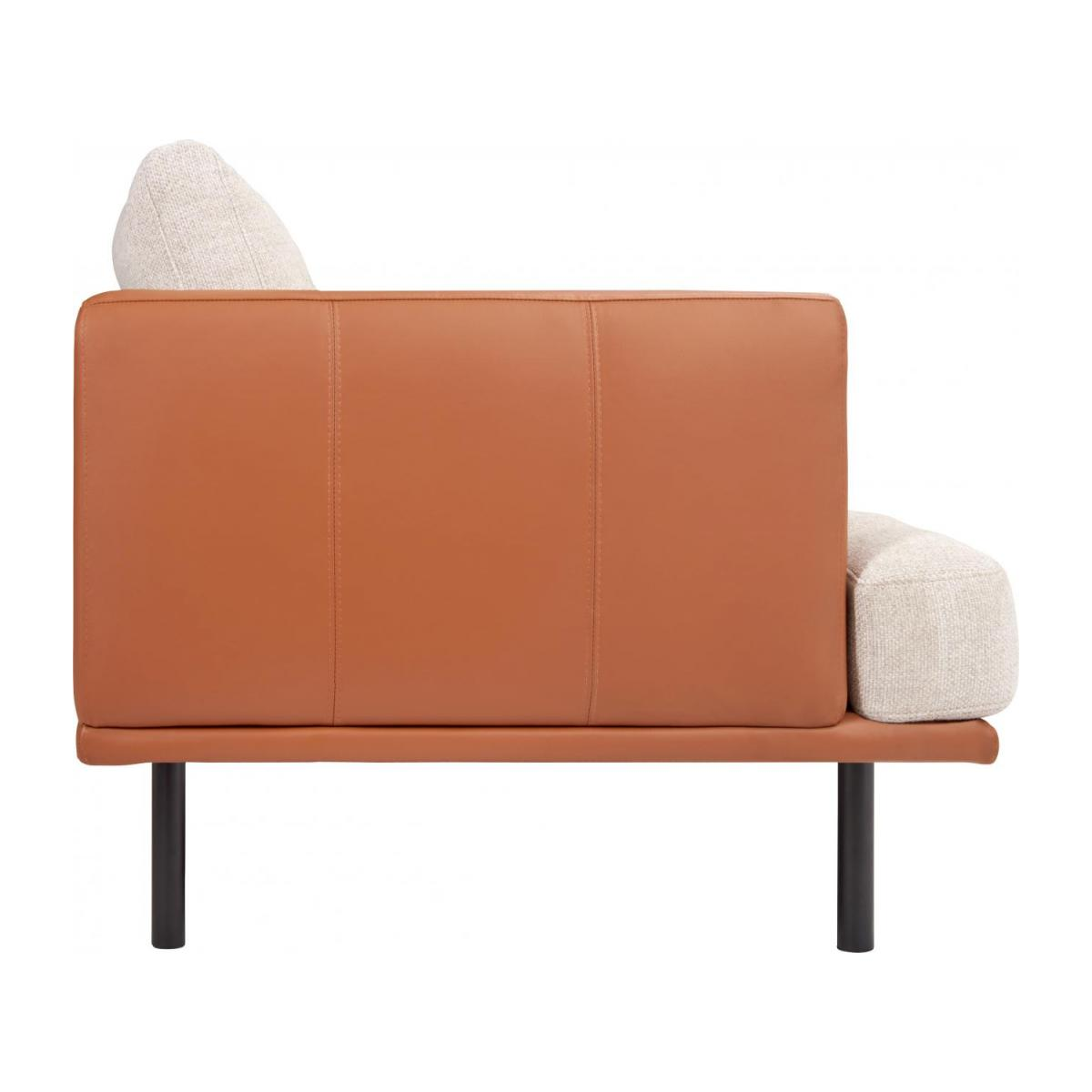 2 seater sofa in Fasoli fabric, snow white with base and armrests in brown leather n°5
