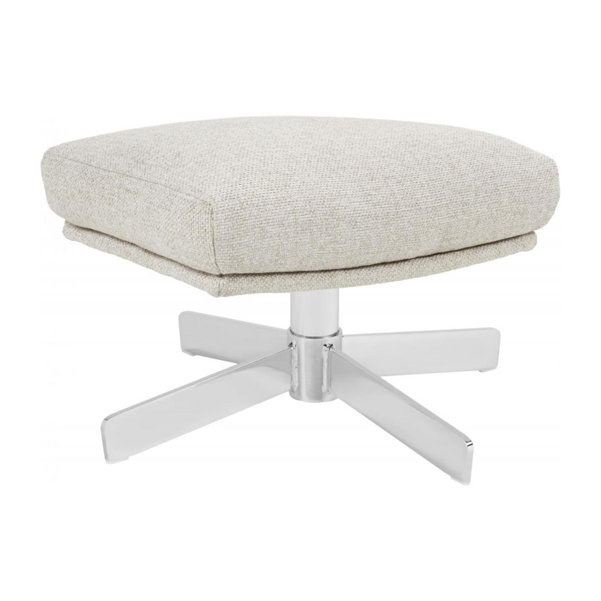 Footstool in Lecce fabric, nature with metal cross leg n°1