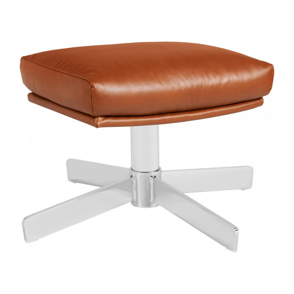 Remarkable Footstool In Aniline Vintage Leather Old Chestnut With Metal Cross Leg Short Links Chair Design For Home Short Linksinfo