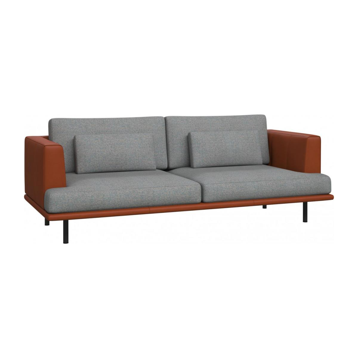 3 seater sofa in Lecce fabric, blue reef with base and armrests in brown leather n°1