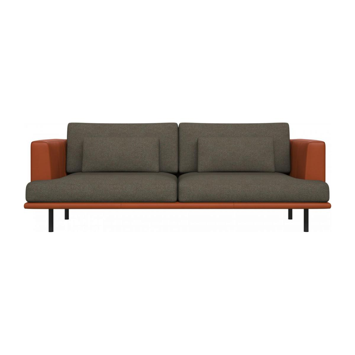 3 seater sofa in Lecce fabric, slade grey with base and armrests in brown leather n°2