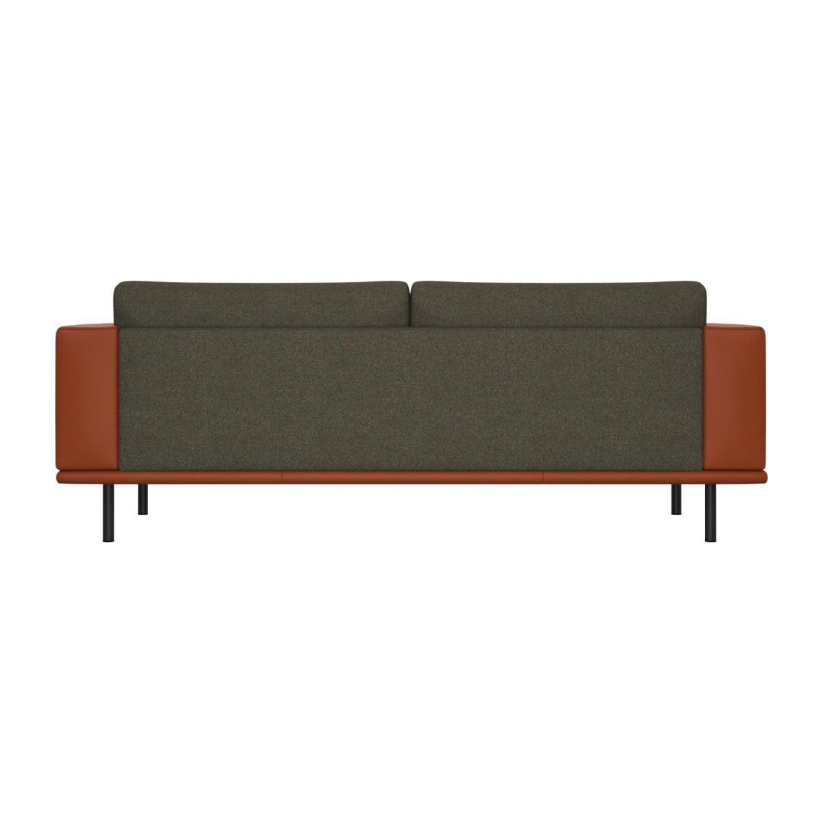 3 seater sofa in Lecce fabric, slade grey with base and armrests in brown leather n°3