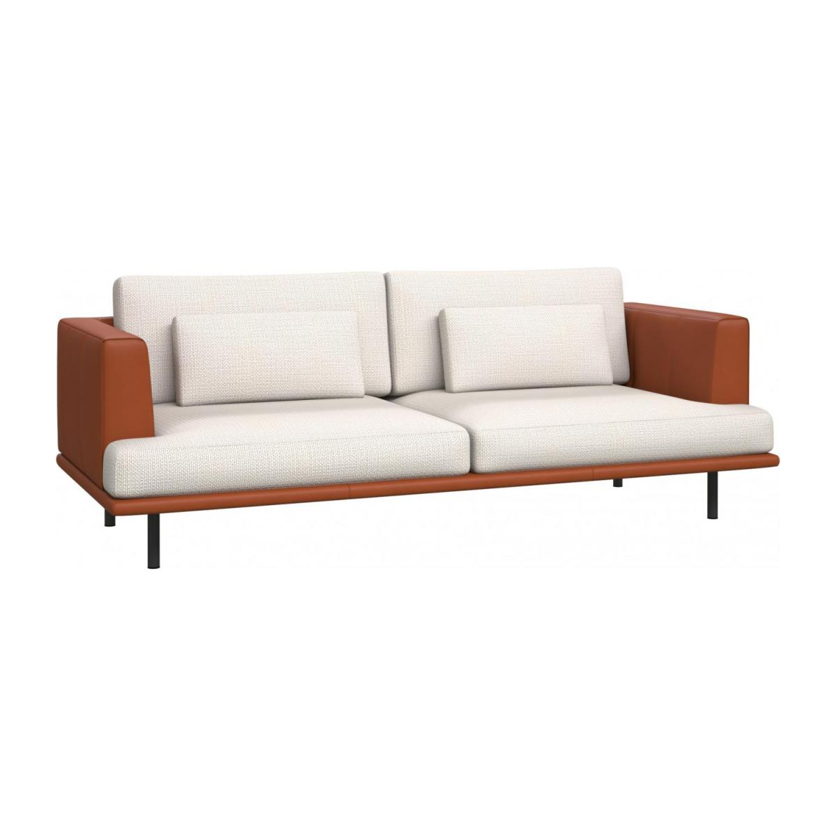 3 seater sofa in Fasoli fabric, snow white with base and armrests in brown leather n°1