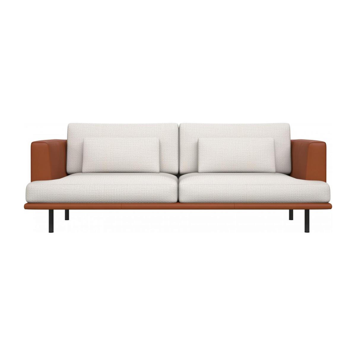3 seater sofa in Fasoli fabric, snow white with base and armrests in brown leather n°3