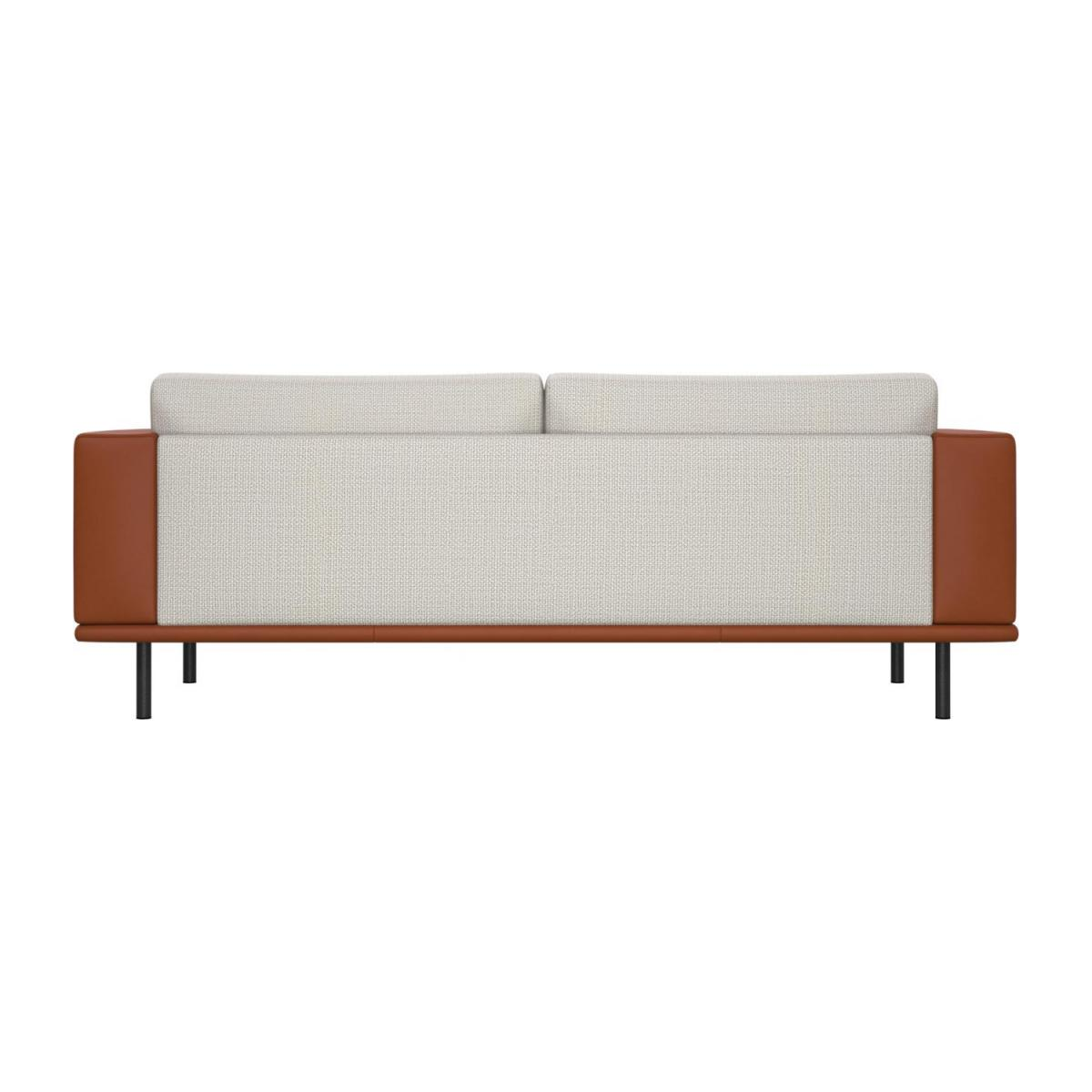 3 seater sofa in Fasoli fabric, snow white with base and armrests in brown leather n°4