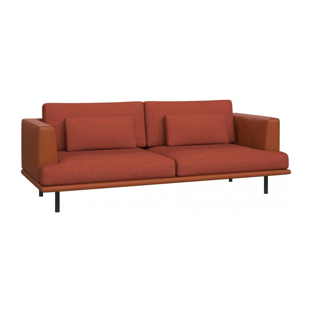 3 seater sofa in Fasoli fabric, warm red rock with base and armrests in brown leather n°1