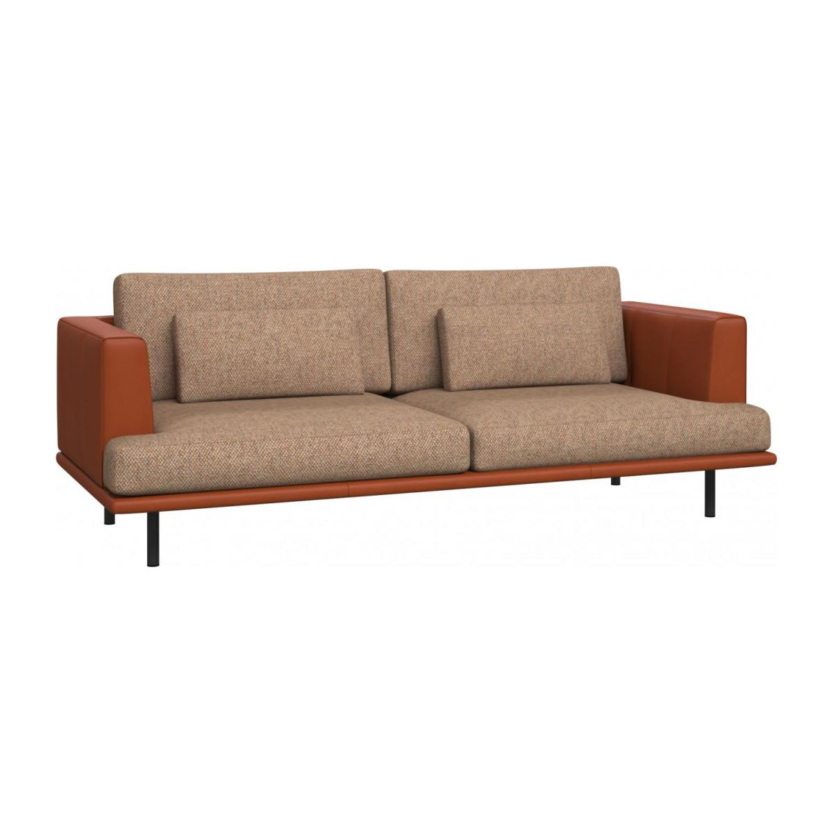 3 seater sofa in Bellagio fabric, passion orange with base and armrests in brown leather n°1