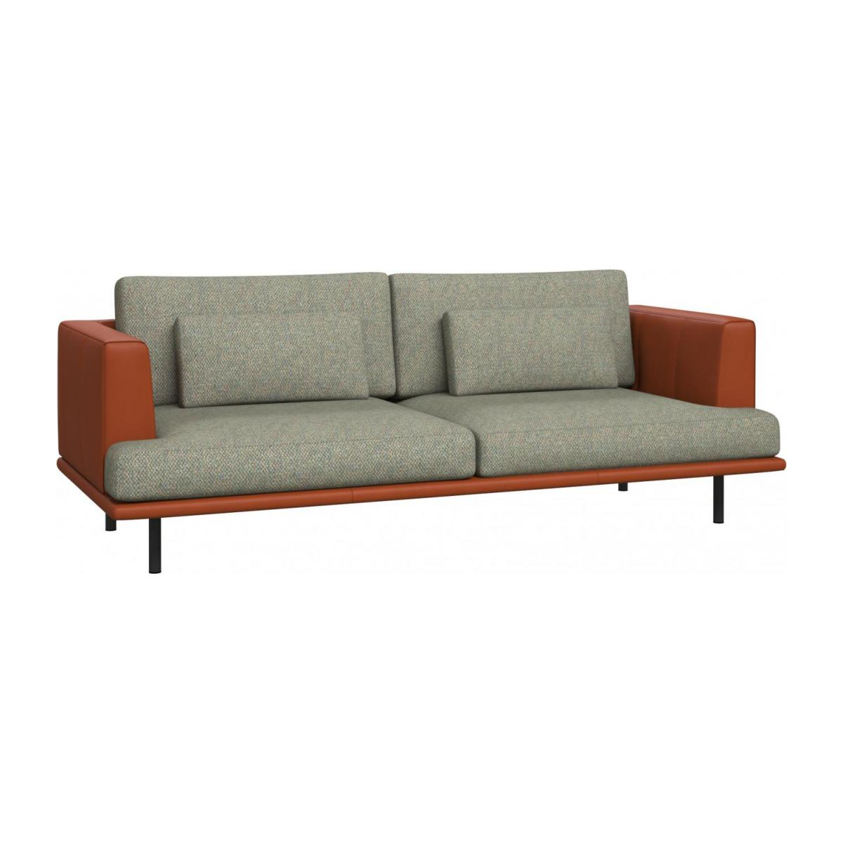 3 seater sofa in Bellagio fabric, organic green with base and armrests in brown leather n°1