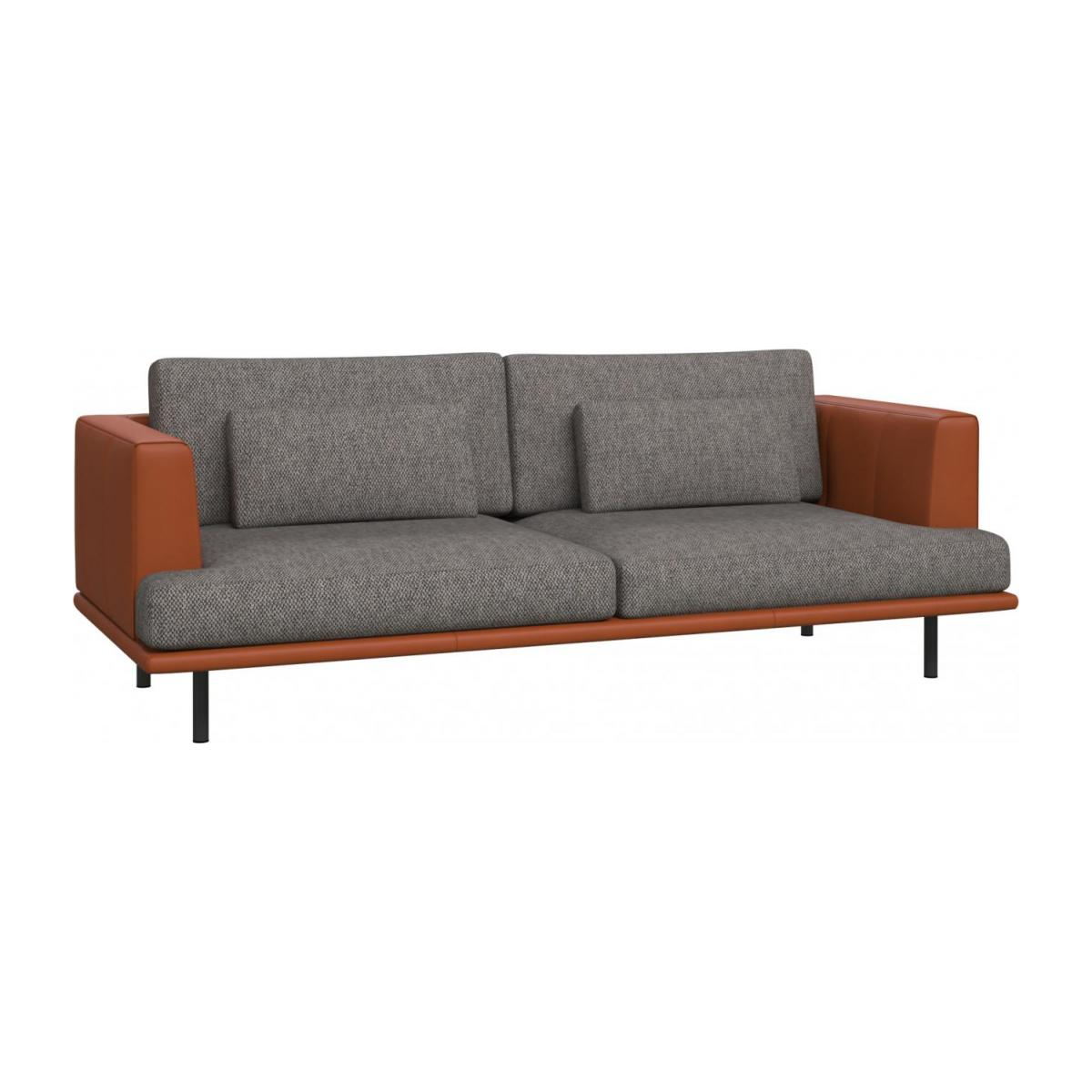 3 seater sofa in Bellagio fabric, night black with base and armrests in brown leather n°1