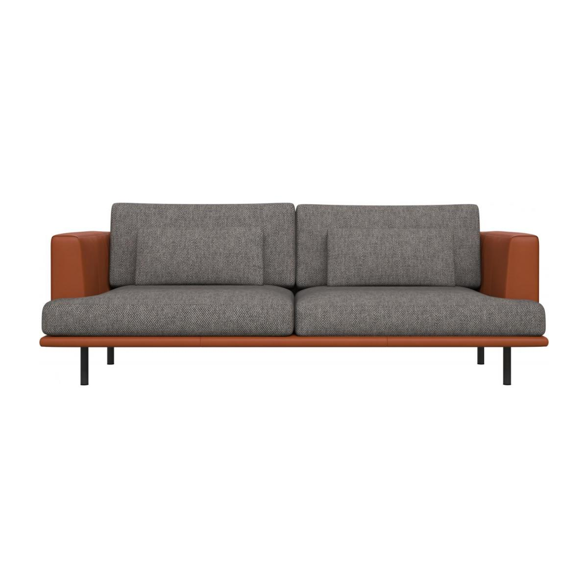 3 seater sofa in Bellagio fabric, night black with base and armrests in brown leather n°2