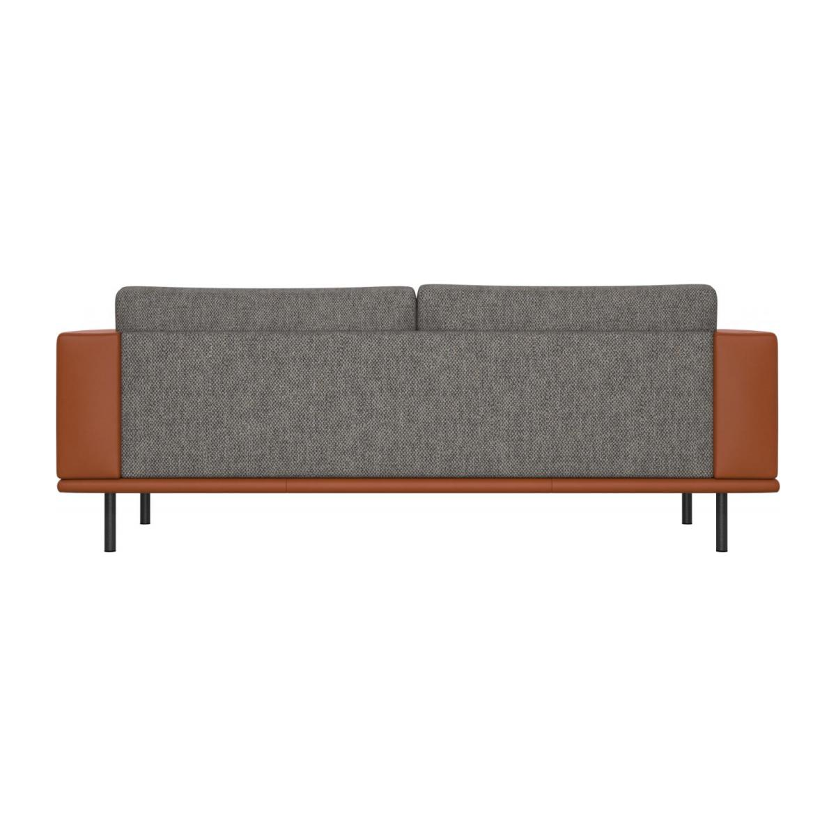 3 seater sofa in Bellagio fabric, night black with base and armrests in brown leather n°3
