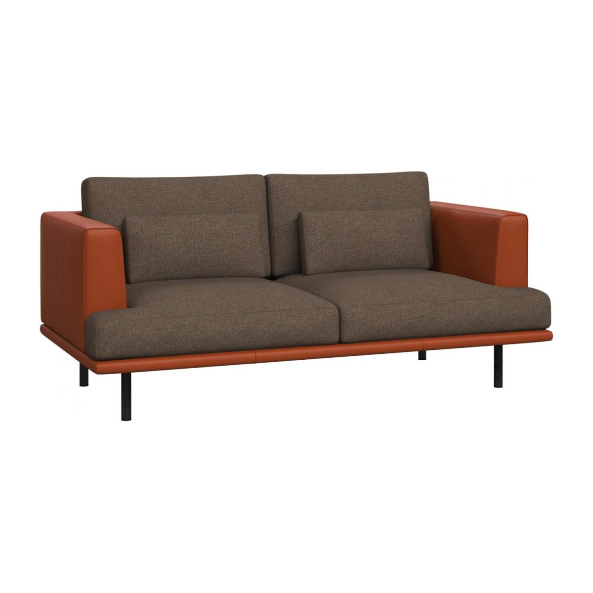 2 seater sofa in Lecce fabric, burned orange with base and armrests in brown leather n°1