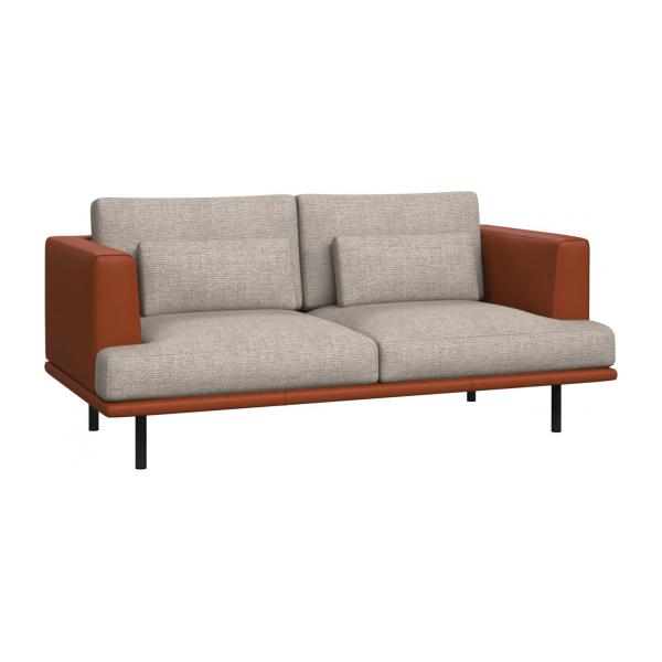 2 seater sofa in Lecce fabric, nature with base and armrests in brown leather