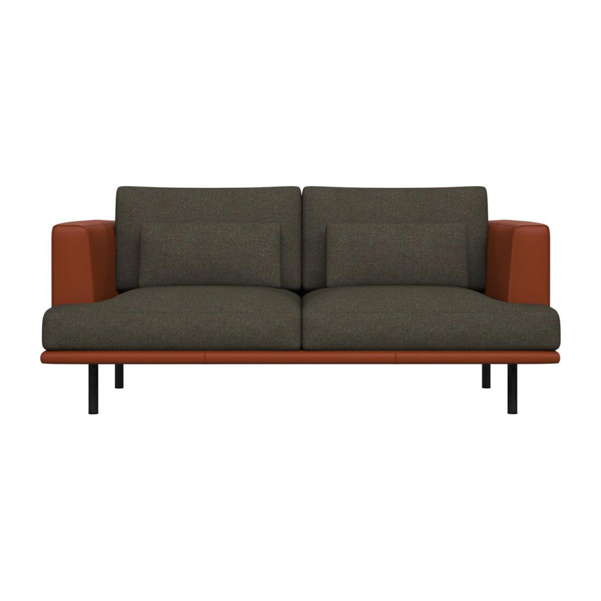 2 seater sofa in Lecce fabric, slade grey with base and armrests in brown leather n°2