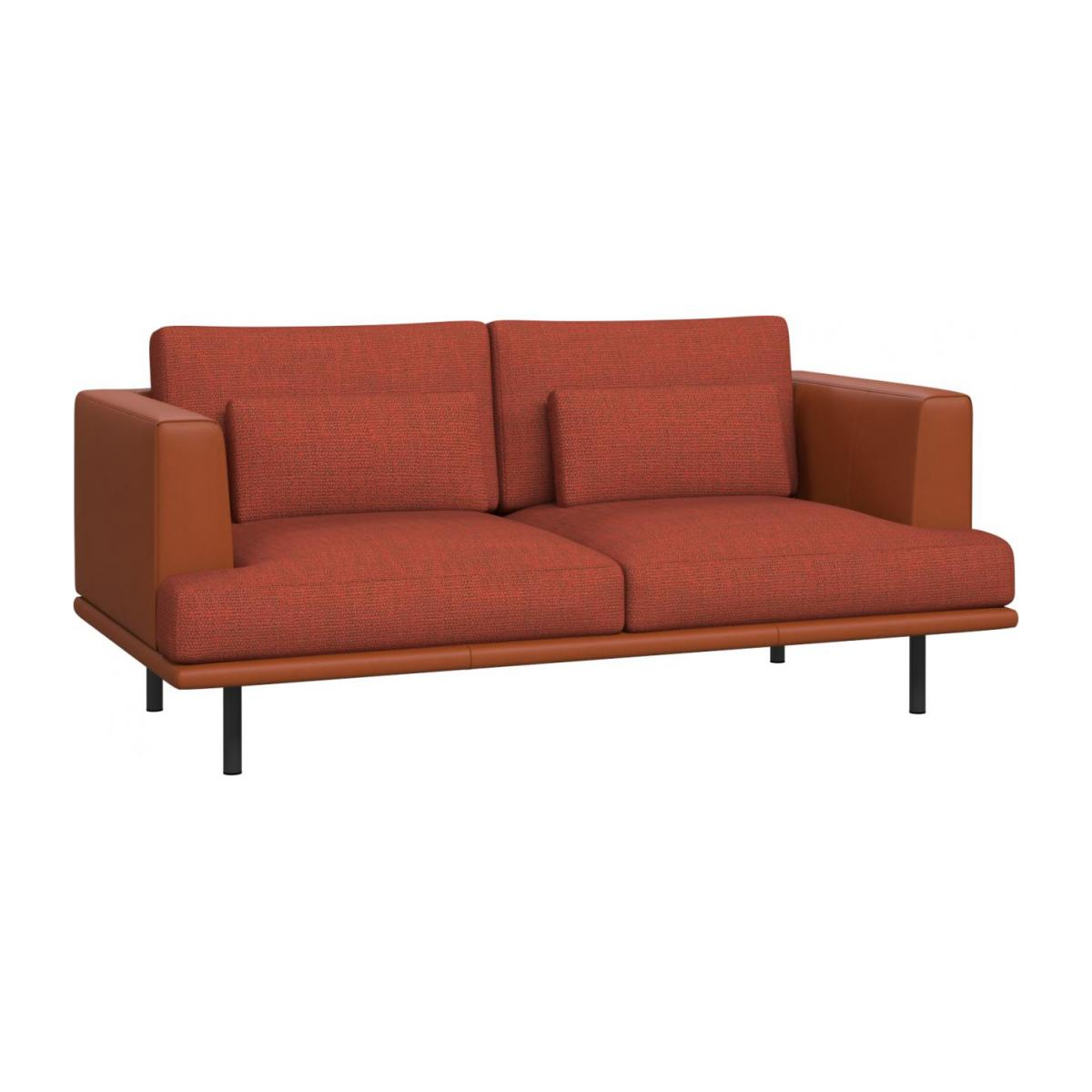 2 seater sofa in Fasoli fabric, warm red rock with base and armrests in brown leather n°1