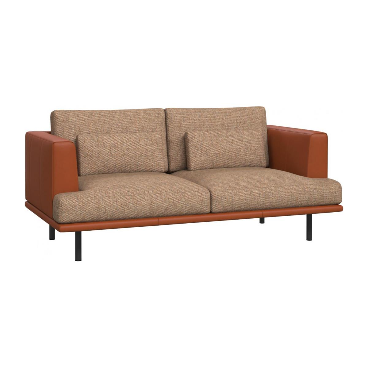2 seater sofa in Bellagio fabric, passion orange with base and armrests in brown leather n°1