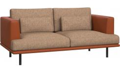 2 seater sofa in Bellagio fabric, passion orange with base and armrests in brown leather