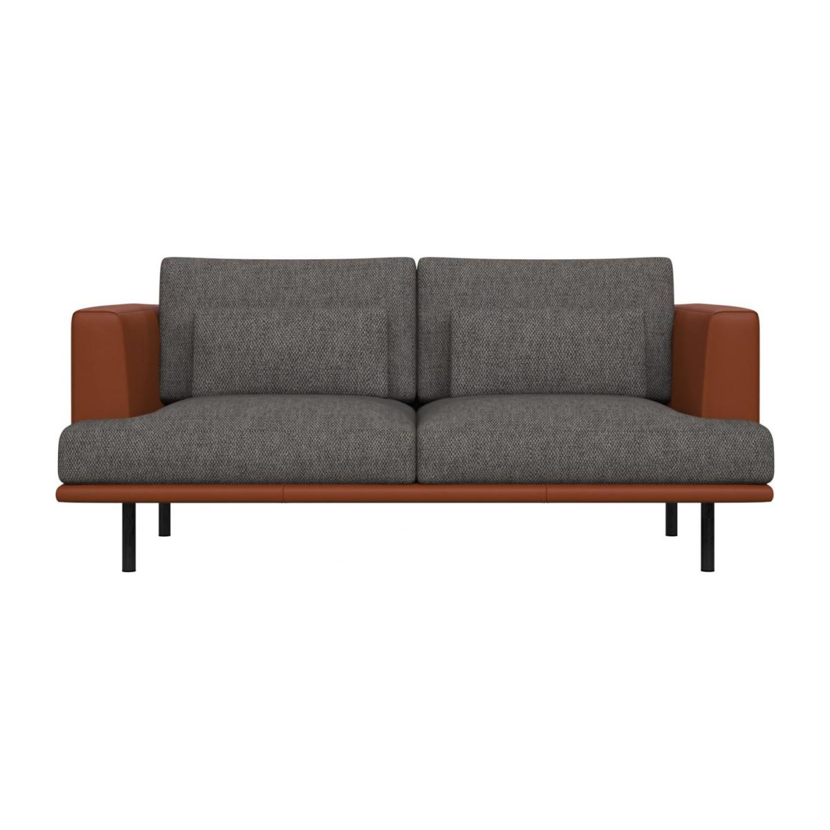 2 seater sofa in Bellagio fabric, night black with base and armrests in brown leather n°2