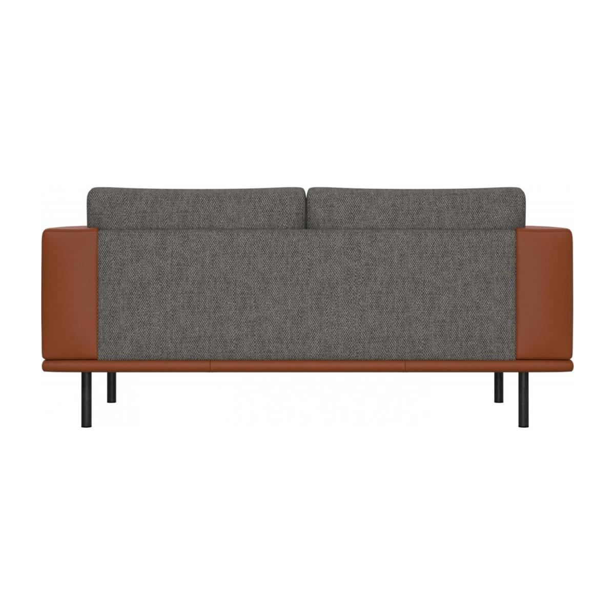 2 seater sofa in Bellagio fabric, night black with base and armrests in brown leather n°3