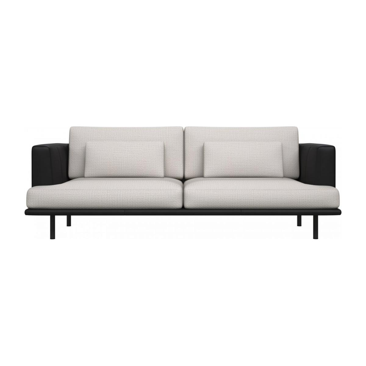 3 seater sofa in Fasoli fabric, snow white with base and armrests in black leather n°2