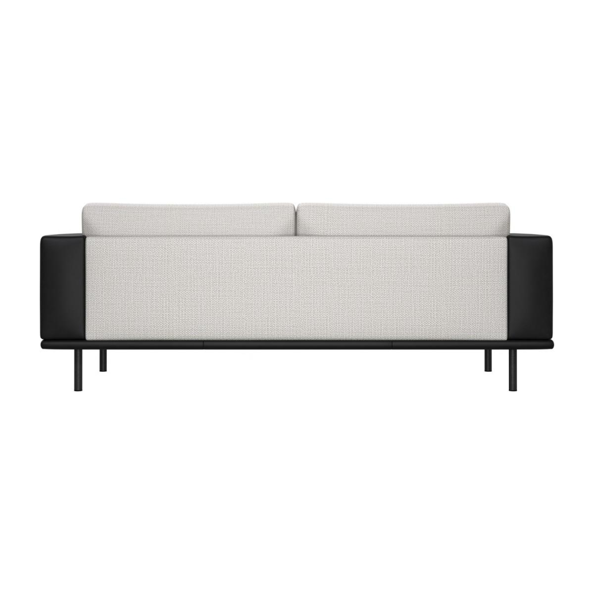 3 seater sofa in Fasoli fabric, snow white with base and armrests in black leather n°3