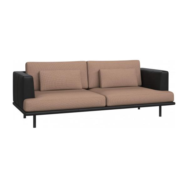 3 seater sofa in Fasoli fabric, jatoba brown with base and armrests in black leather