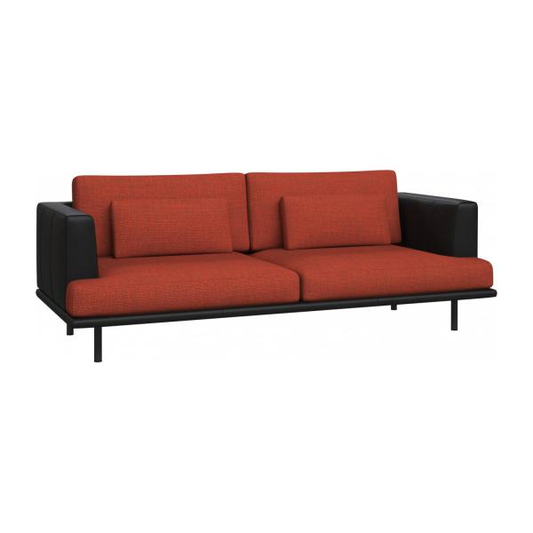 3 seater sofa in Fasoli fabric, warm red rock with base and armrests in black leather