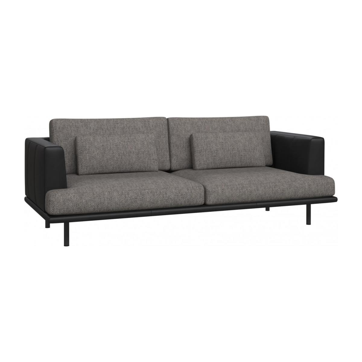 3 seater sofa in Bellagio fabric, night black with base and armrests in black leather n°1