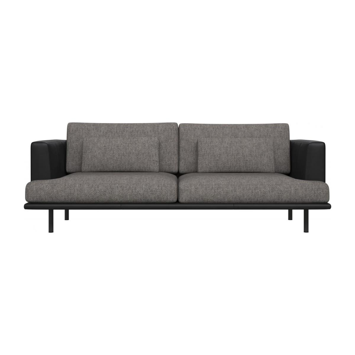 3 seater sofa in Bellagio fabric, night black with base and armrests in black leather n°2