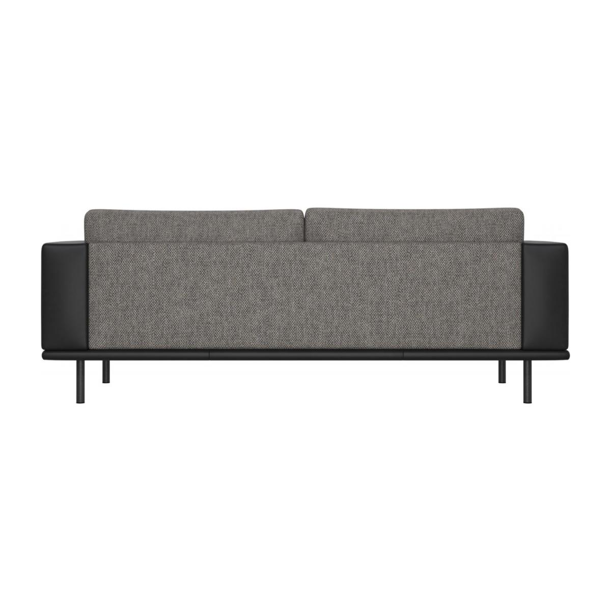 3 seater sofa in Bellagio fabric, night black with base and armrests in black leather n°3