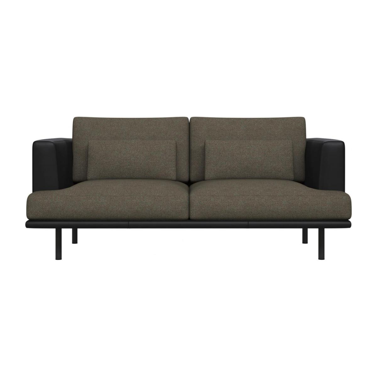 2 seater sofa in Lecce fabric, slade grey with base and armrests in black leather n°2