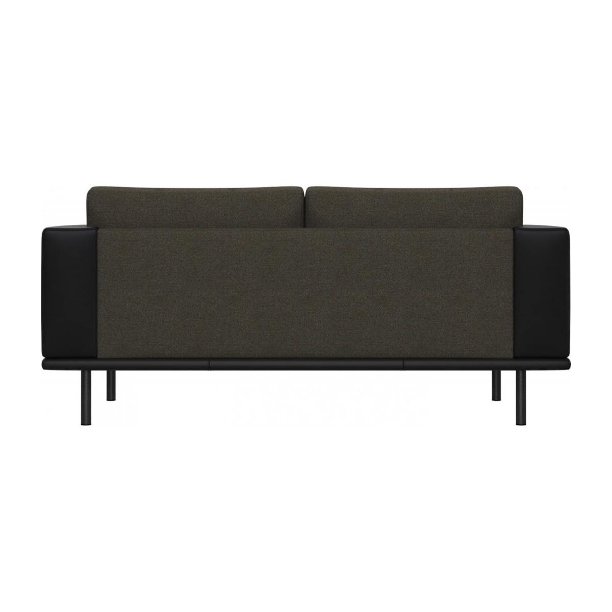 2 seater sofa in Lecce fabric, slade grey with base and armrests in black leather n°3