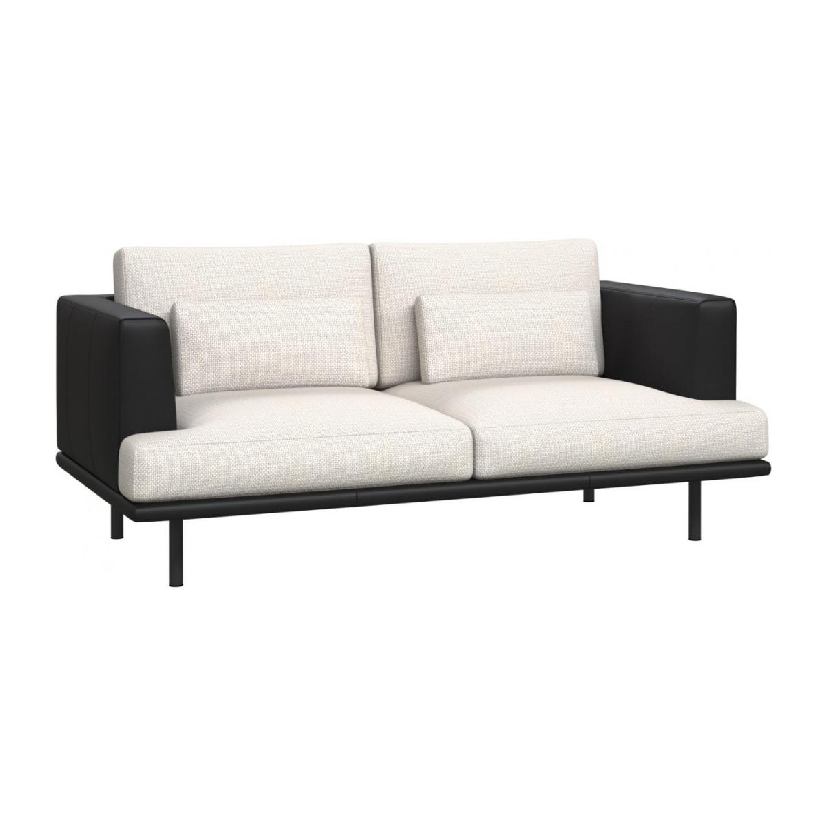 2 seater sofa in Fasoli fabric, snow white with base and armrests in black leather n°1