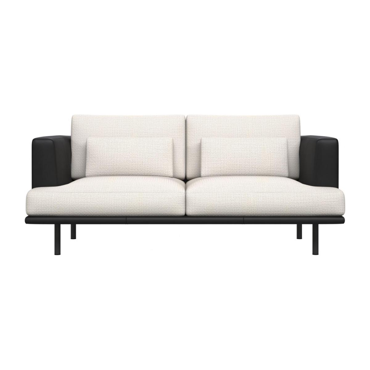 2 seater sofa in Fasoli fabric, snow white with base and armrests in black leather n°2